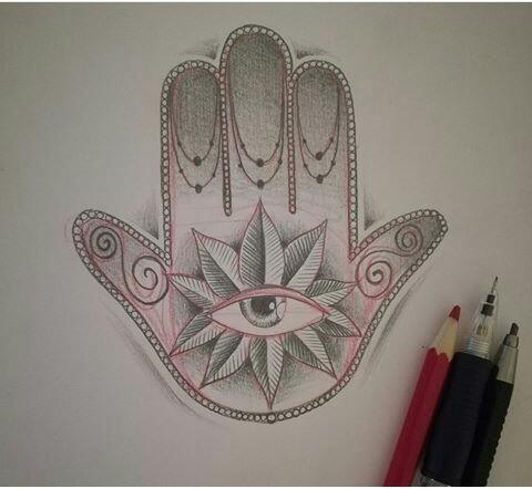 mano de fátima dibujo